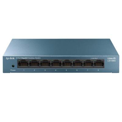 New, TP-Link Switch 8 Puertos 10 100 1000 (LS108G) Switch ethernet, Switch gigabit, Indicador del estado, chasis metálico ultraligero con Super disipación de calor, QoS